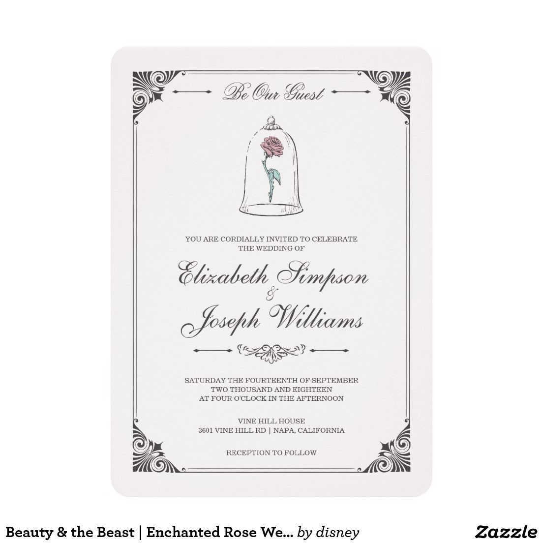 Beauty And The Beast Enchanted Rose Wedding Card Rose Wedding