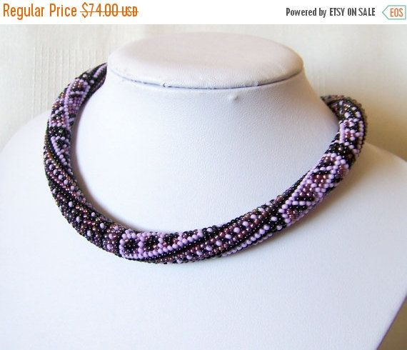 15% SALE Purple bead crochet necklace with geometric pattern - rope necklace - Patchwork Beadwork - native american necklace lilac ethnic ne