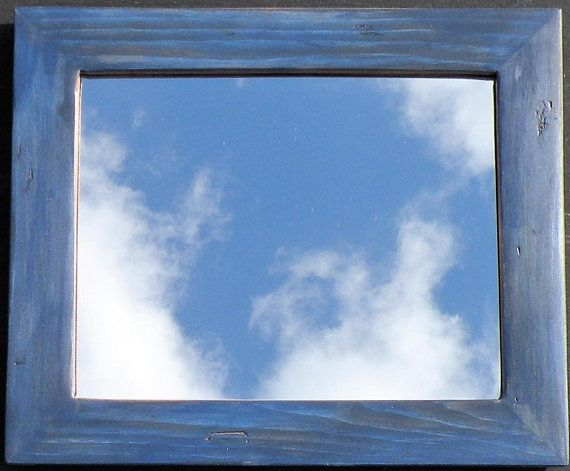 Handmade Rustic Navy Blue Stained Pine Wood Framed Mirror