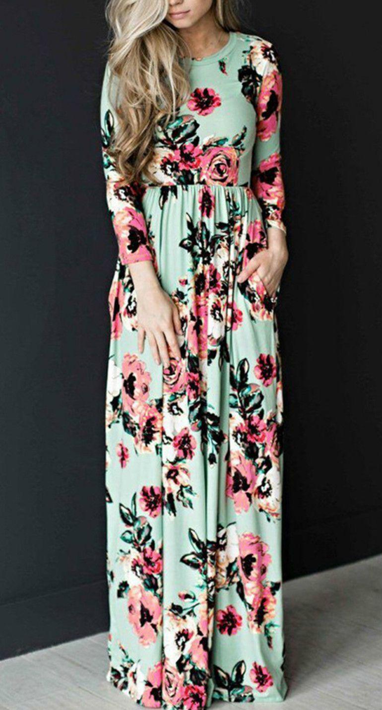 Long sleeve floral printed maxi prom dress vestiditos vestido