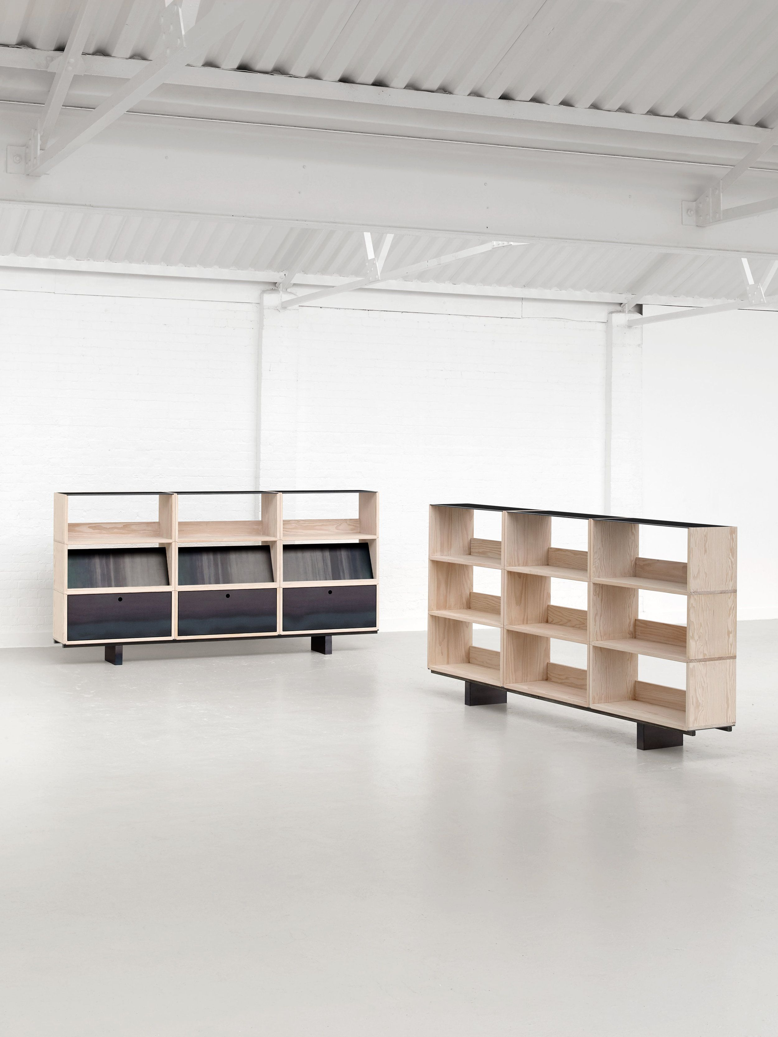 Assembled is a minimalist collection of modular storage and shelving designed by london based studio paul crofts studio the collection consists of chamfer