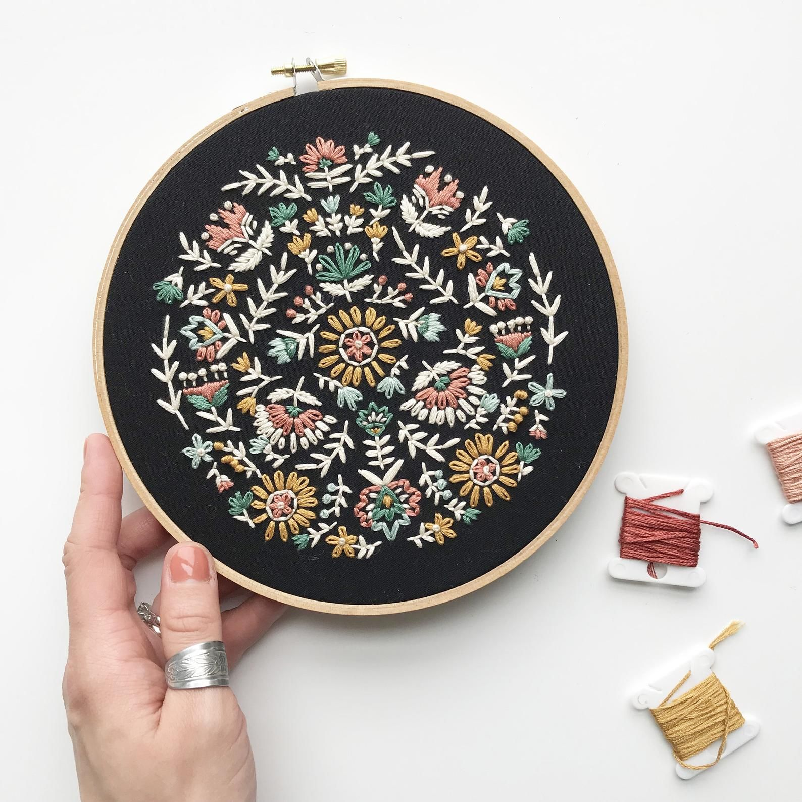 Folk Floral Embroidery Scandinavian Floral Embroidery Etsy In 2020 Scandinavian Embroidery Floral Embroidery Patterns Modern Embroidery