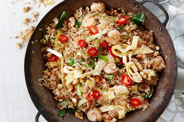 Experience a taste of Asia with this delicious pork and prawn fried rice.