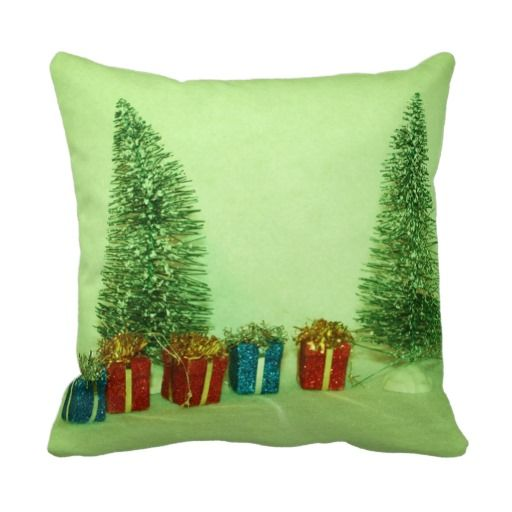 Snowy Fence line and Christmas tree's PILLOW