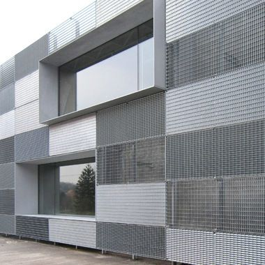 Mix Of Metal Grates With Thin Projected Window Mullion
