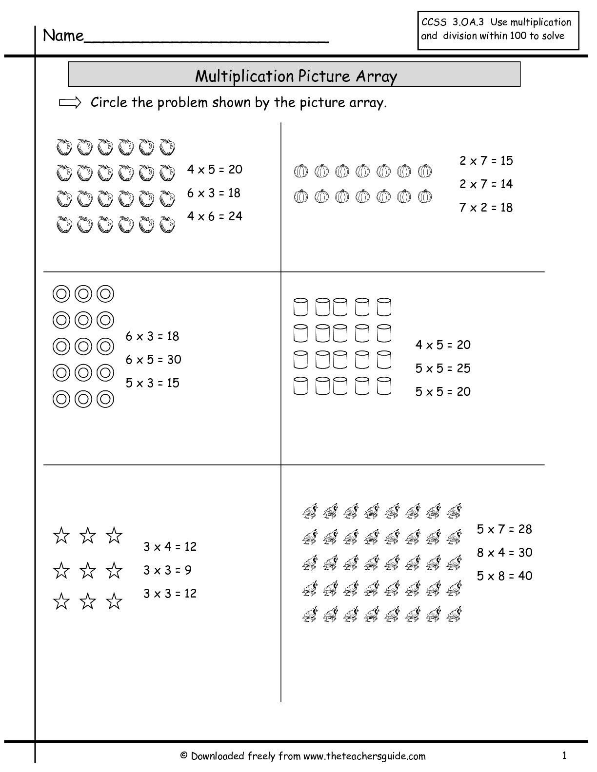 Free Array Worksheets Pictures 2nd Grade Free Preschool