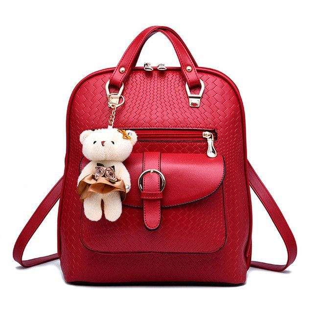 266e01950aa9 2016 New Casual Girls Backpack PU Leather 8 Colors Fashion Women Backpack  School Travel Bag With Bear Doll For Teenagers Girls