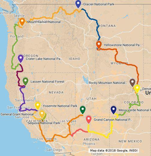 The Park To Park Tour passes through 11 states 12 National Parks