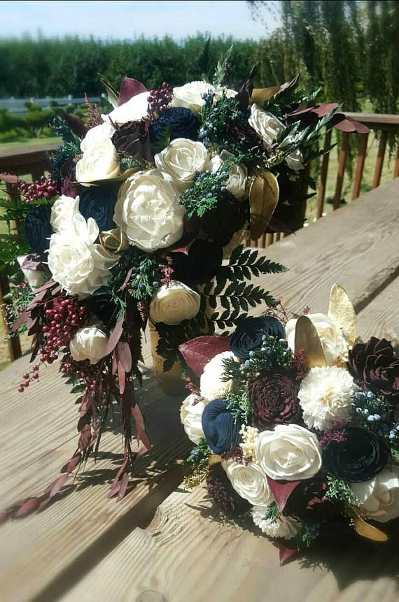 Custom Navy Wine Sola Wood Flower Bouquet and dried Flower | Sola ...