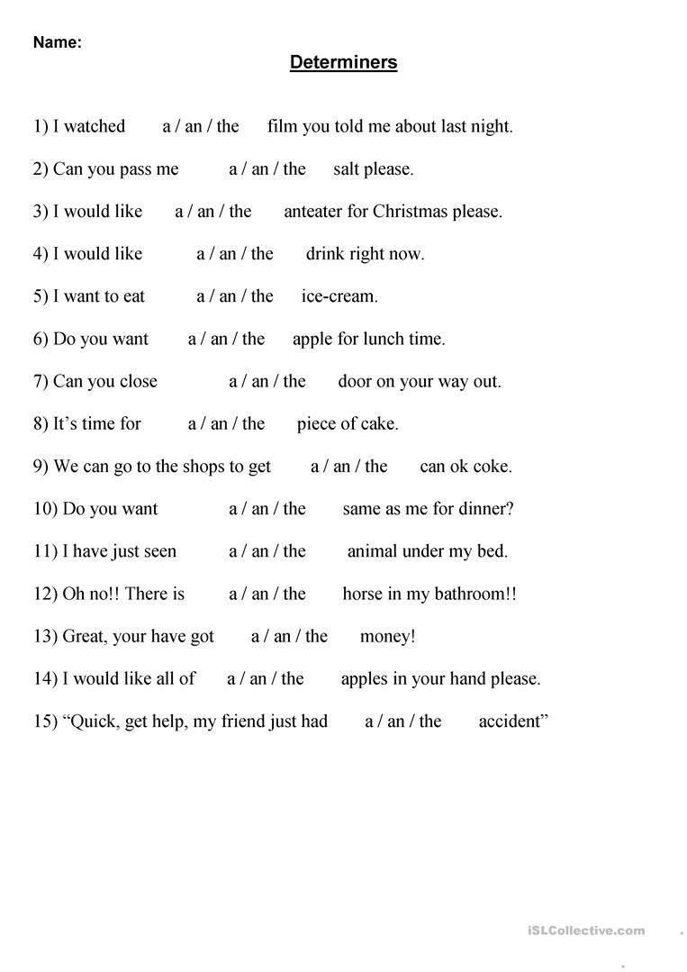 Choose the correct Determiner worksheet - Free ESL printable worksheets  made by teachers   Determiners [ 1079 x 763 Pixel ]