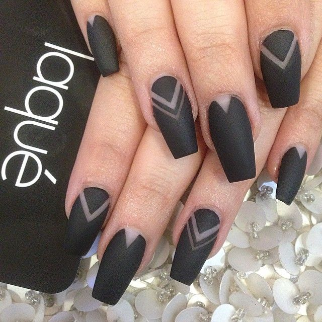 Matte black coffin nails with negative space design - Matte Black Coffin Nails With Negative Space Design Nails