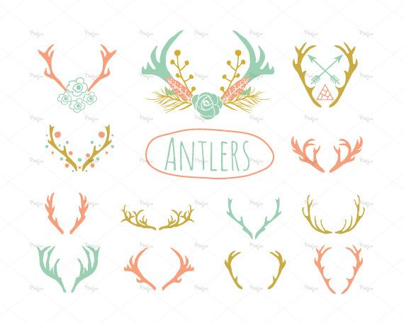 21 Antlers Clipart Eps And Png Instant Download Etsy In 2021 Clip Art Reindeer Horns Antlers
