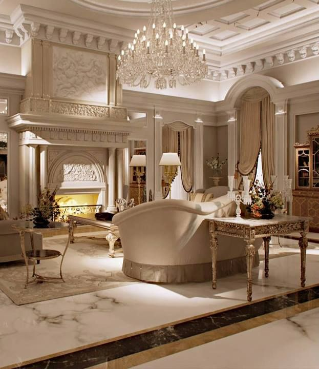 Luxurious Living Room Marble Millwork Chandelier Luxury