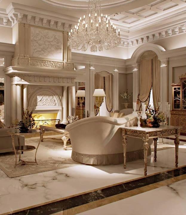 Luxurious Living Room Marble Millwork Chandelier Luxury