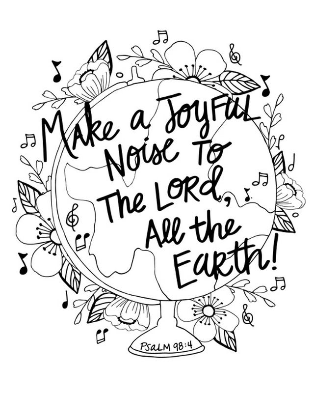 Make A Joyful Noise Handlettered Coloring Coloring Canvas Bible Verse Coloring Page Bible Verse Coloring Bible Coloring Pages