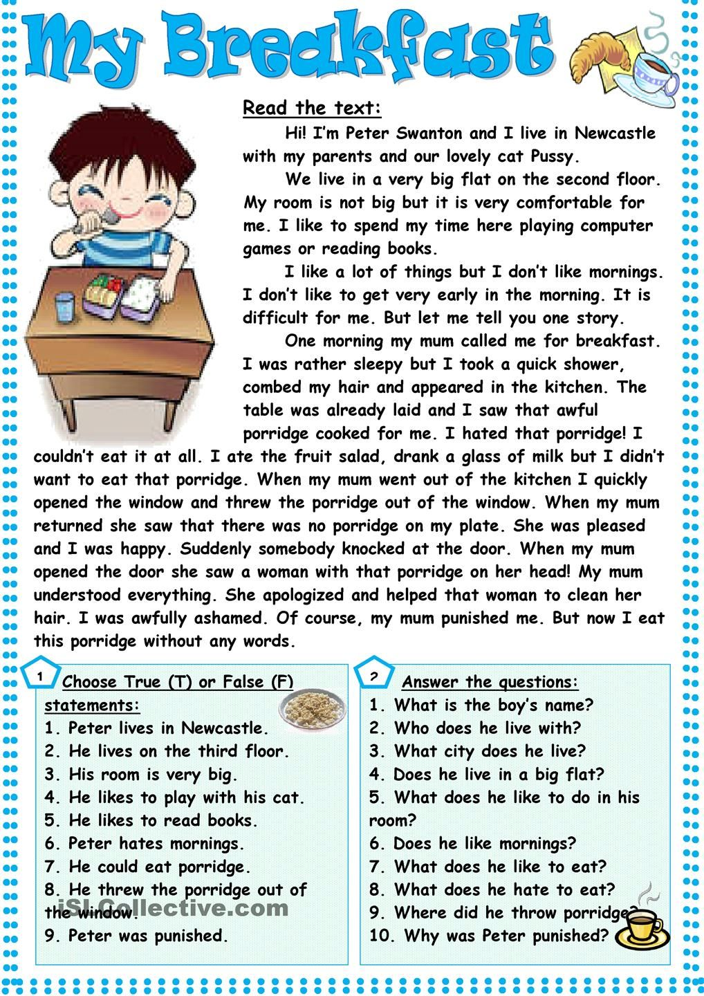My Breakfast Reading Comprehension Activities Reading Comprehension Reading Comprehension Worksheets Daily reading comprehension grade 8