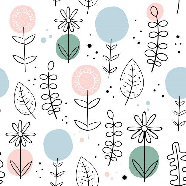 Vector Seamless Pattern With Flowers. Scandinavian