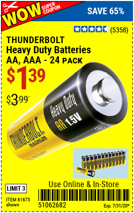 Thunderbolt Heavy Duty Batteries For 1 39 Harbor Freight Tools Harbor Freight Coupon Heavy