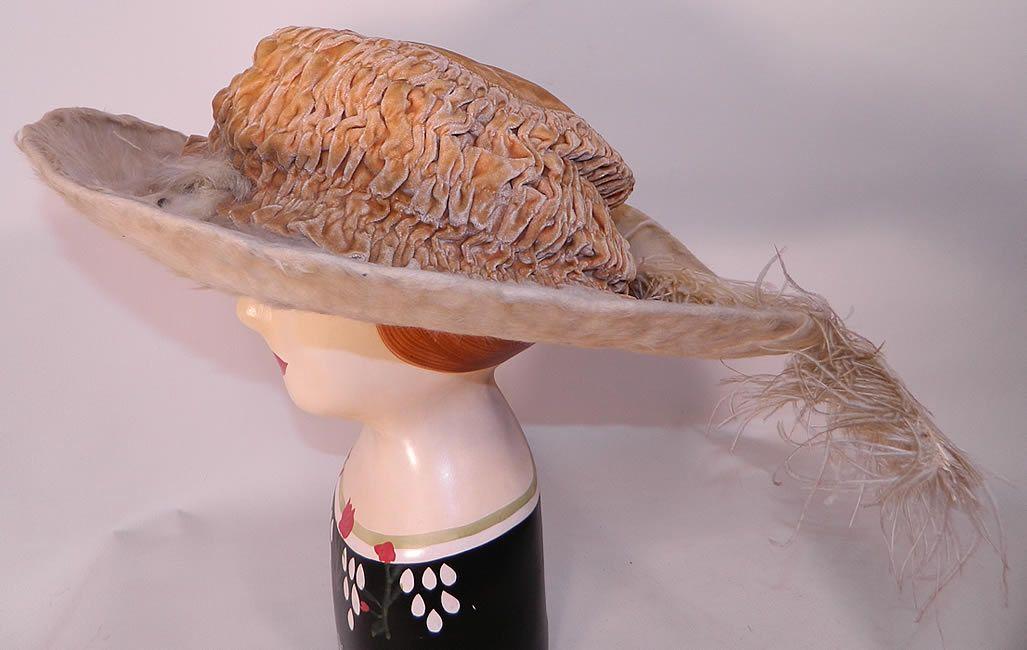Cream Velvet White Beaver Felt Fur - 1912  Feather Wide Brim Hat. This antique Titanic Edwardian era cream velvet white beaver felt fur feather wide brim hat dates from 1912.