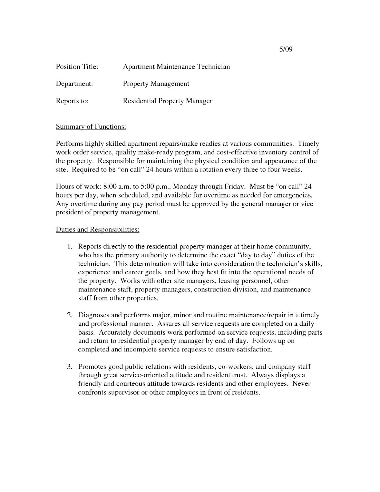 Apartment Maintenance Technician Resume