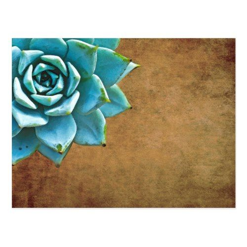 Succulent Save the Date Cards Succulent Watercolor Rustic Brown Postcard