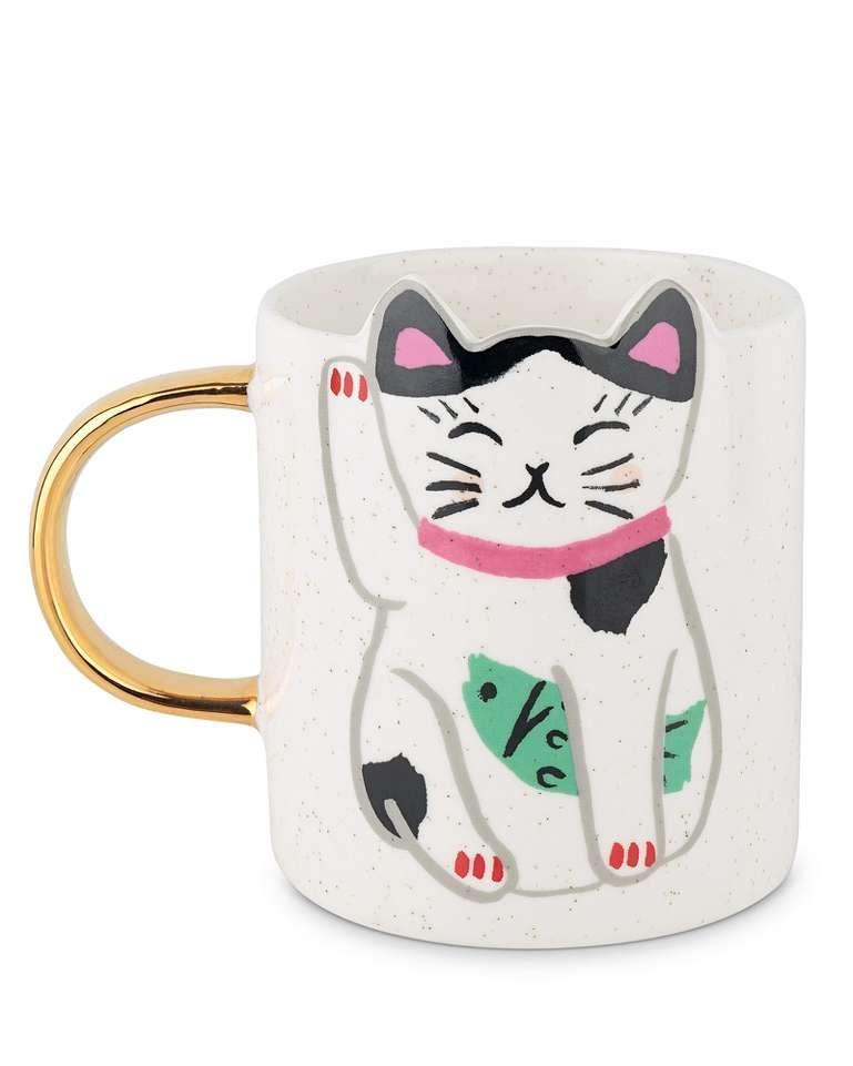 Lucky Cat Mug Cat Mug Lucky Cat Cat Owner Gift