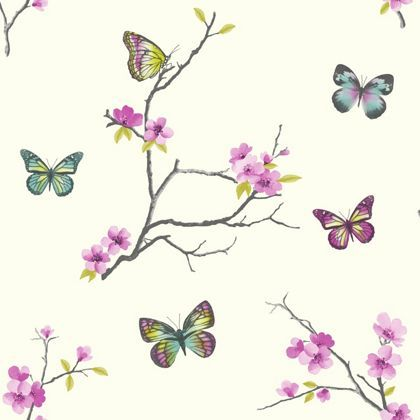 Home of colour carrie blossom wallpaper pink at homebase - Butterfly wallpaper homebase ...