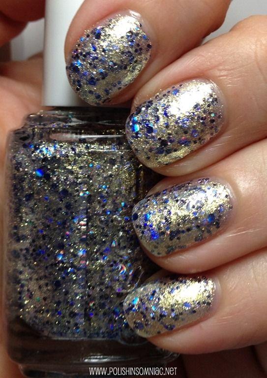 Essie On A Silver Platter   Brillo azul, Uñas doradas y Colores de ...