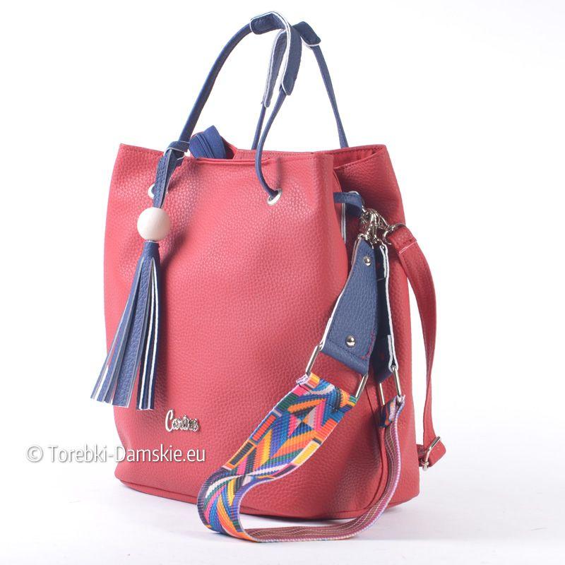57bfd5160a498 Czerwono - granatowa torebka z kolorowym ozdobnym gitarowym paskiem - gt   Kliknij i zobacz http