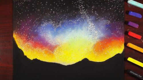 night sky drawing with a set of soft pastels from my childhood what do you think video now on youtube http youtu be u6spnroxrvg by kitslam youtube