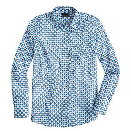 Regular perfect shirt in cobalt honeypie print - shirts - J.Crew $78.00