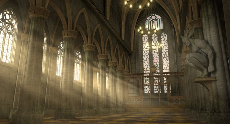 Gothic Interior Sun Beam