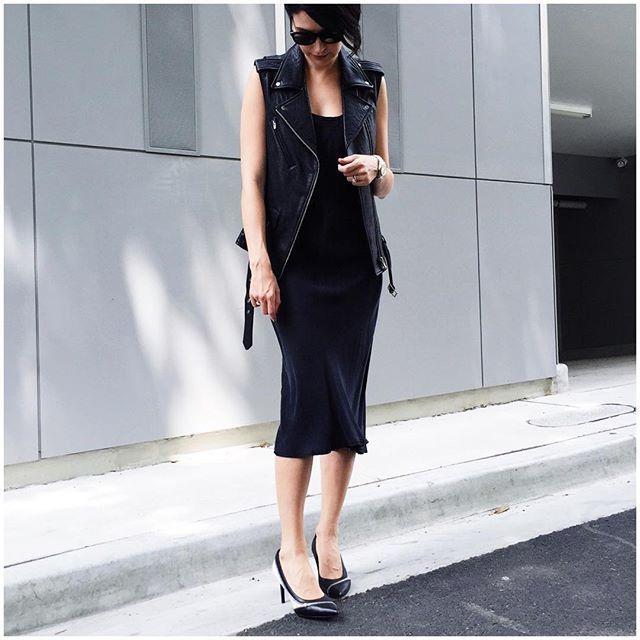 leather vest + black midi tank dress
