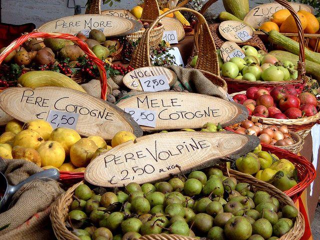 The weekly produce market in Casola Valsenio, Italy
