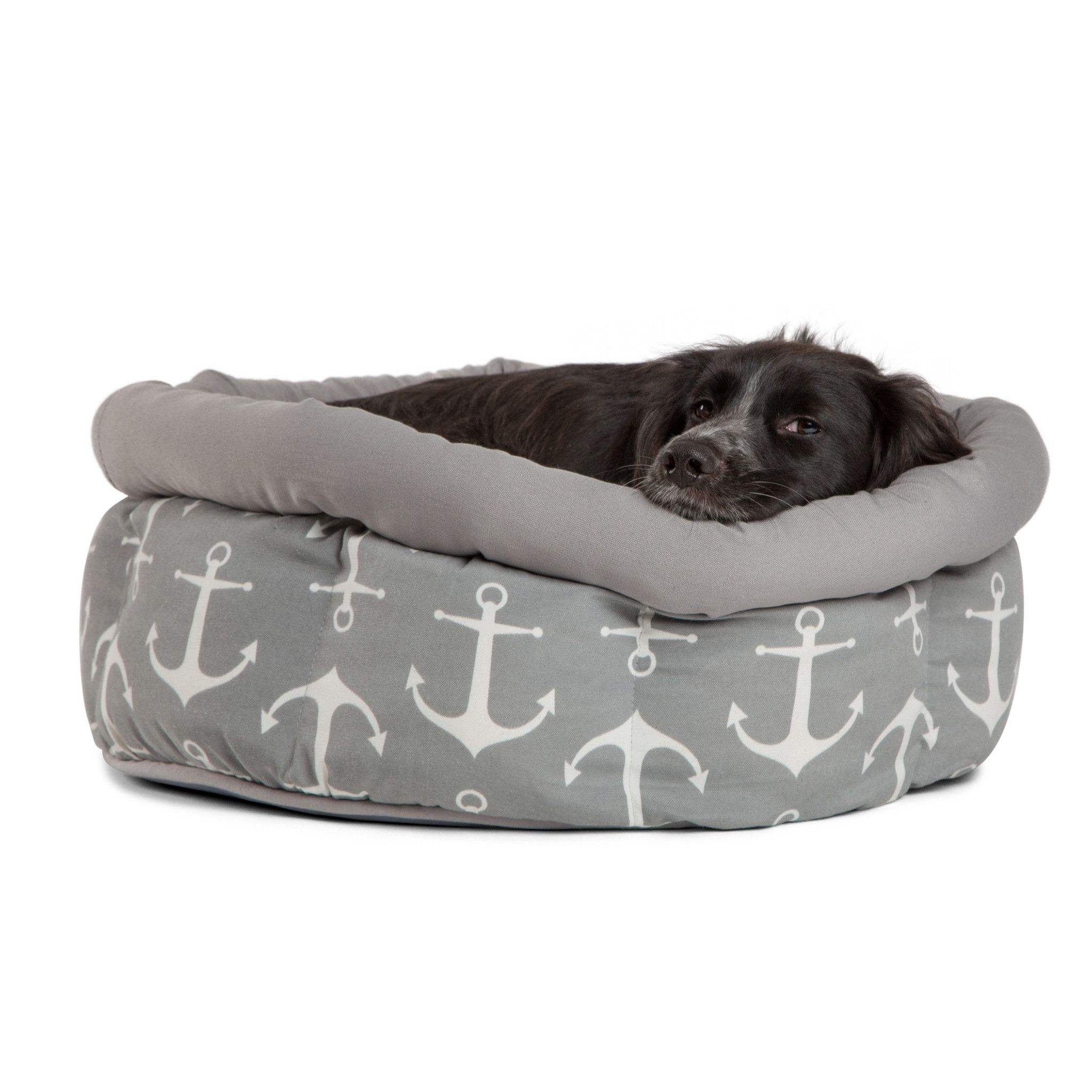 Teddy Cuddler In Anchor Fog Jumbo Grey Dog Bed Dog Bed Furniture Dog Bed