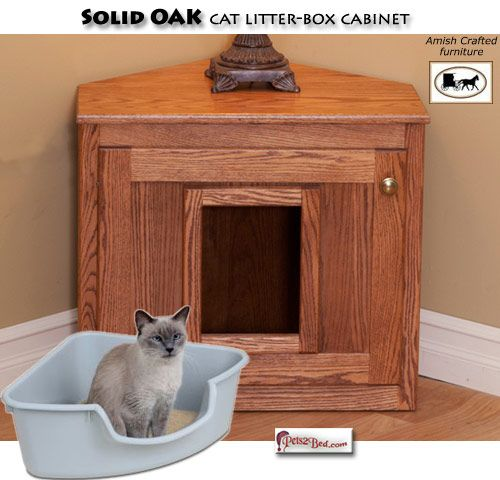 Corner Cat Litter Box Cabinet Has Swinging Door To Keep Dog Out Too But Will Covered Desig Cat Litter Box Furniture Litter Box Enclosure Dog Crate End Table
