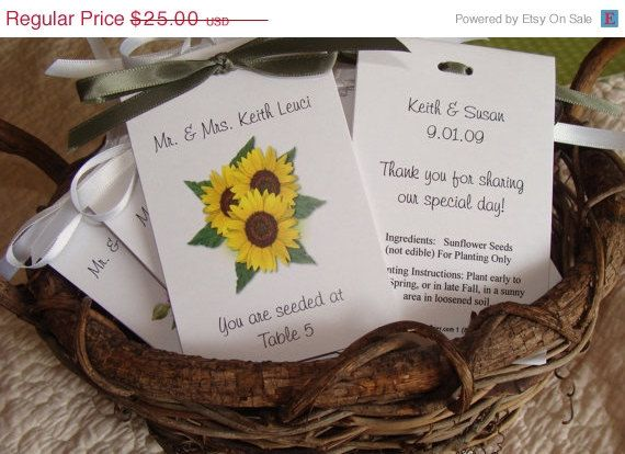 ON SALE Sunflower Trio Flower Escort Place Cards by SuLuGifts, $22.50