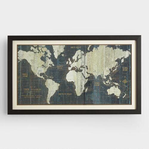 Blue Old World Map by World Market