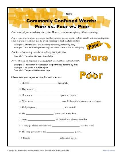 Pore Vs Pour Vs Poor Worksheet Easily Confused Words Commonly Confused Words Easily Confused Words Tricky Words