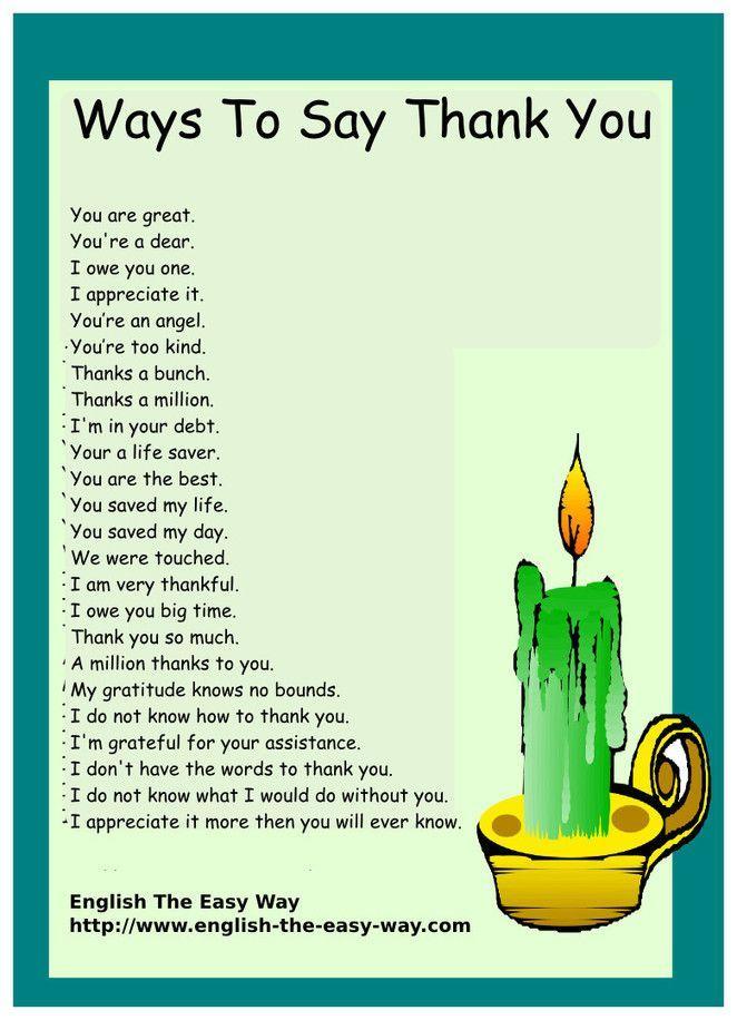 ways to say thank you english grammar pinterest english