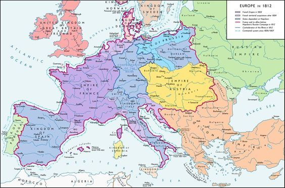 A map of Europe in 1812 at the height of the Napoleonic wars