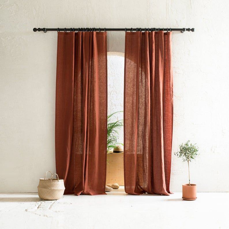 Natural Linen Curtains Blackout Curtains Window Curtain Panels