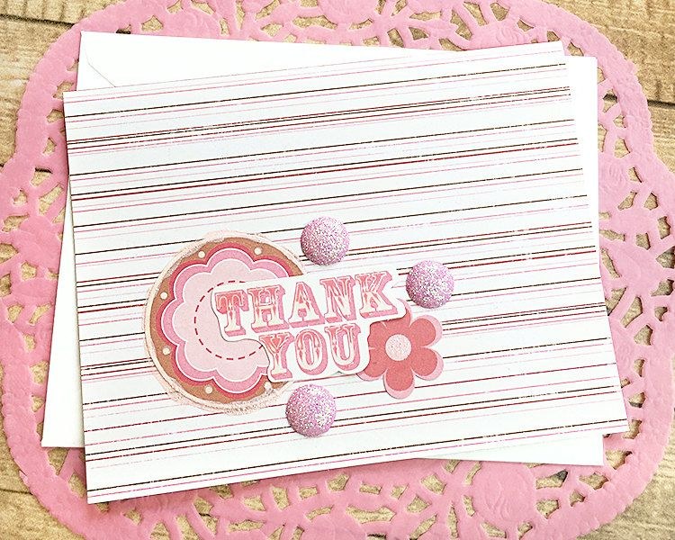 Glitter Pink Thank You Note Card Stripes Flowers Gratitude