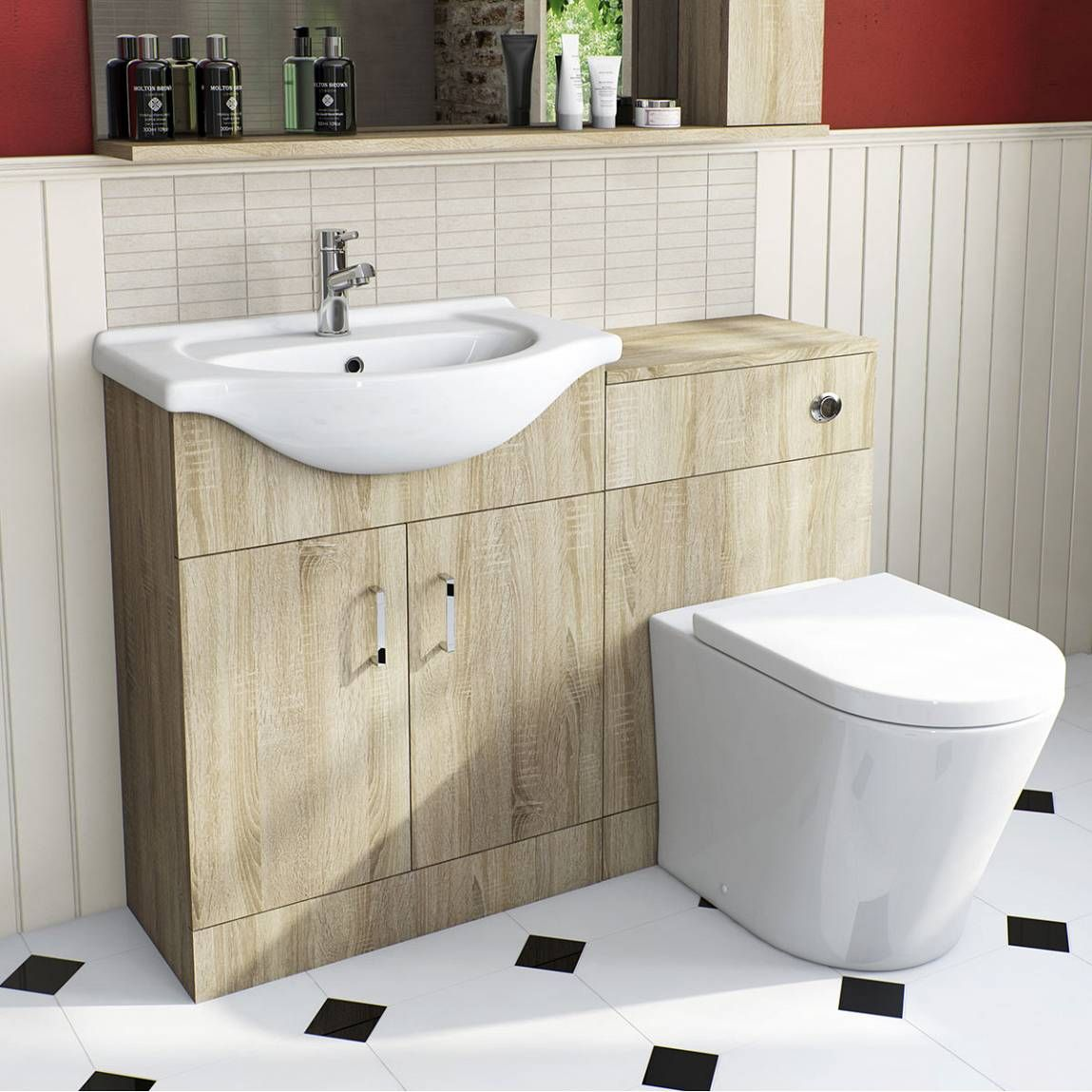 Sienna Oak Arc Combination Vanity Unit Small Victoria Plumb Small Bathroom Sinksback