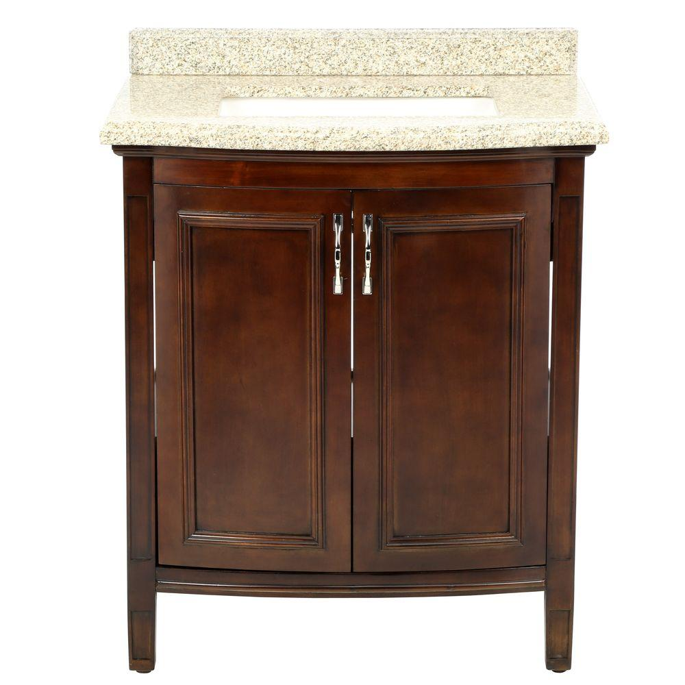 Unbranded Sheba 30 In Vanity In Cocoa With Granite Vanity Top In Speckled Beige Bf90223 The Home Depot Granite Vanity Tops 30 Inch Bathroom Vanity Home Depot Bathroom Vanity
