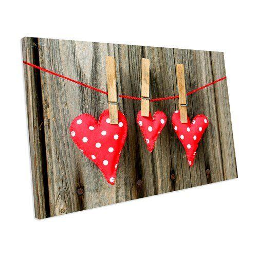Brambly Cottage Leinwandbild Shabby Love Hearts | Wayfair.de