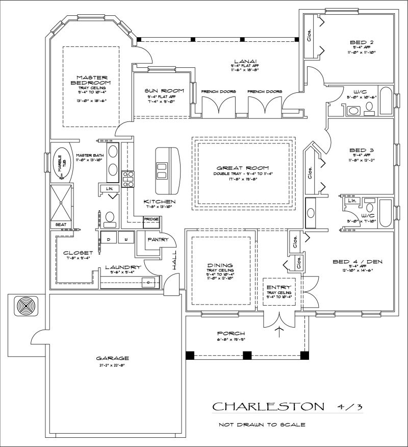 Master bedroom connected to laundry floorplans home for House plans with separate kitchen