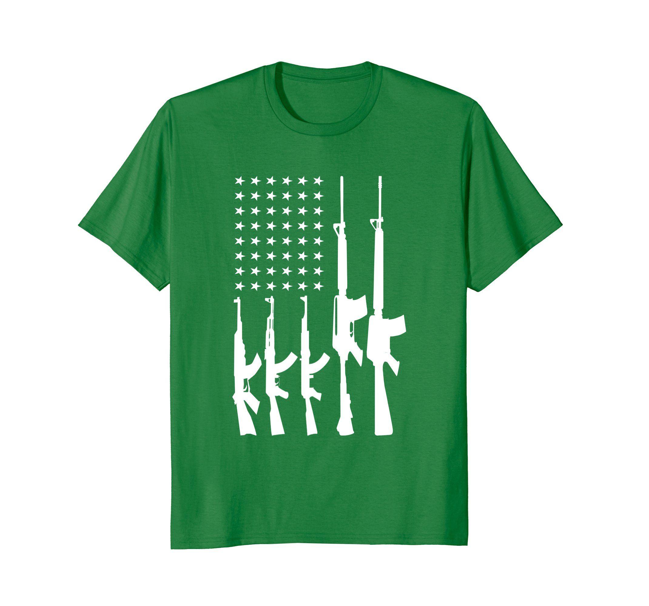 American flag made with guns tshirt clothing