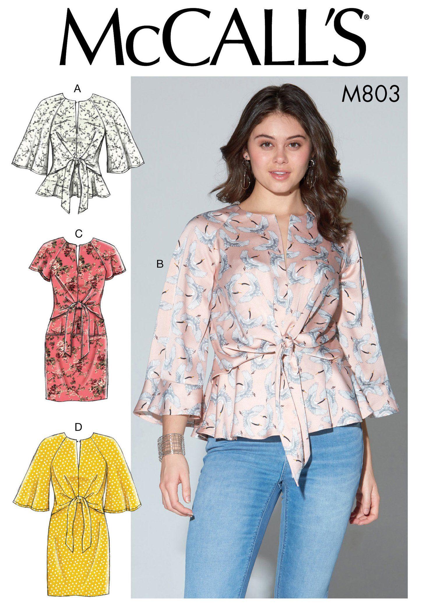 f310cdcd0 McCall's 7803 Misses' Tops and Dresses | X9Q6YS | Dress sewing ...