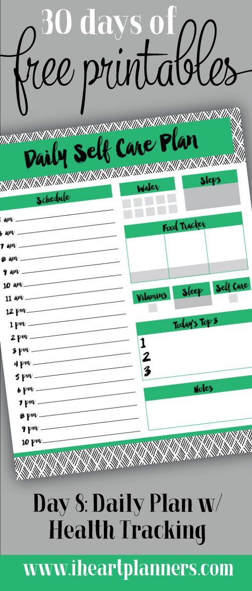 Day   Daily Plan W Health Tracking  Free Printable Water And